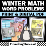 Winter Math Game 1st Grade Word Problems, Penguins and Polar Bears Theme