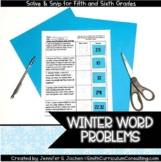 Winter Math Activity | Solve and Snip® | Math Station | 5th & 6th Grade Review
