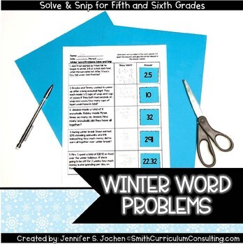 Winter Math Activity   Solve and Snip®   Math Station   5th & 6th Grade  Review