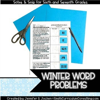 Winter Word Problems Solve and Snip- Common Core and TEKS