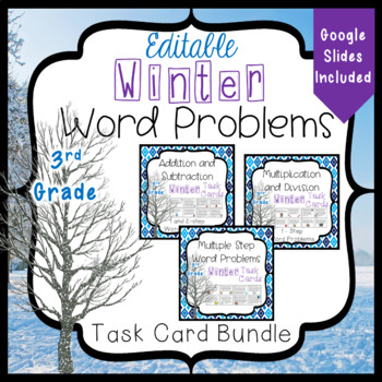 Winter Word Problems Task Card Bundle