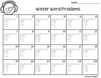 Task Cards with Winter Story Problems (Addition and Subtraction)