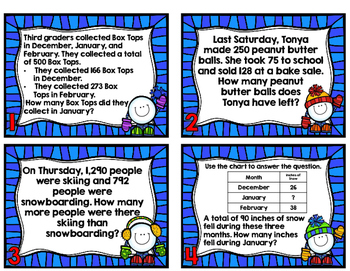 Winter Word Problems-Third Grade SOLs 3.4 and 3.8