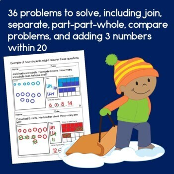 Winter Addition & Subtraction Word Problems for First Grade