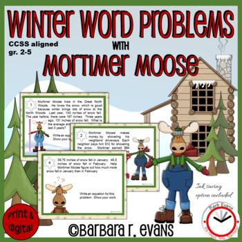MATH WORD PROBLEM TASK CARDS: Story Problems, Winter Math, Math Journals