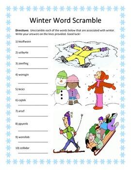 Winter Word Scramble- 10 Words