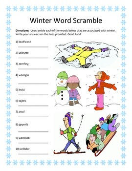 Winter Word Scramble- 10 Words