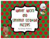 Winter Word Scramble and Sentence Scramble Puzzles
