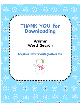 Winter Word Search!