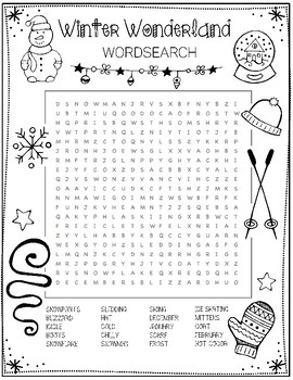 It is a graphic of Old Fashioned Winter Word Search Printable