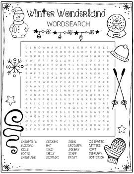 Winter Word Search by Art is Basic | Teachers Pay Teachers