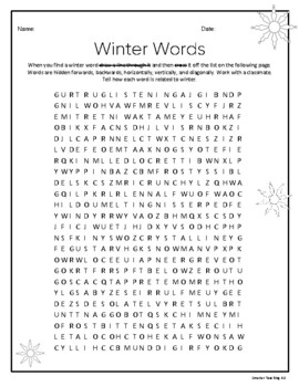 Winter Word Search And Word Bank CCSS Grades 3-6