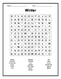 Winter Word Search - English or ESL learners