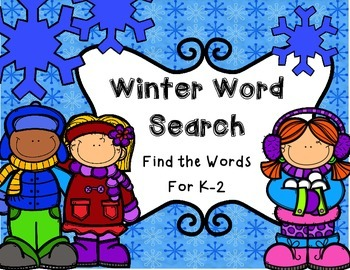 Winter Word Search--Find the Words for K-2