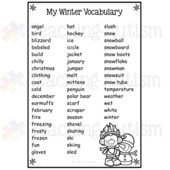 Winter Activities: Word Search