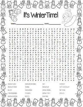 Winter Word Search ~ No-Prep!
