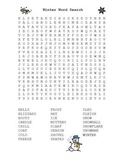Winter Word Search Puzzle with Answer Key - 23 Winter Words
