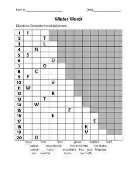 Winter Word Search and Activities
