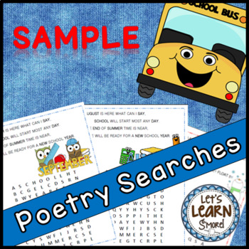 Back to School Activities and Winter Themed Free Poetry Word Searches