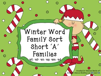 Winter Word Sort - Short 'A' Word Family