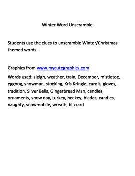 Winter Word Unscramble