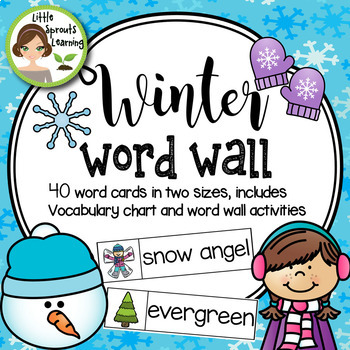 Winter Word Wall 40 word cards 2 sizes, plus word list
