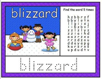 Winter Word Wall Board SmartBoard Activity