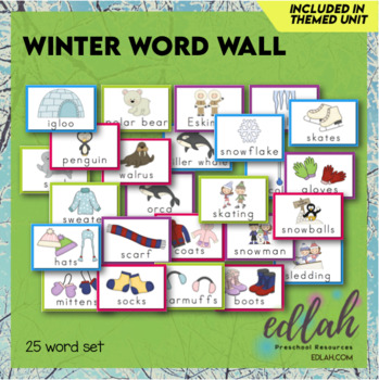 Winter Vocabulary Word Wall Cards (set of 25)