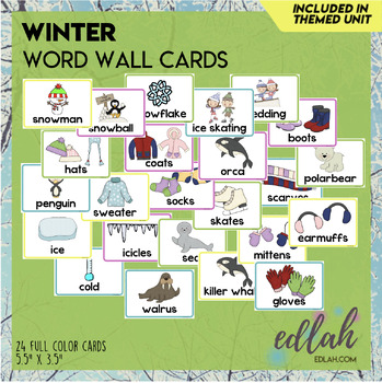 Winter Vocabulary Word Wall Cards (set of 25) - Full Color Version