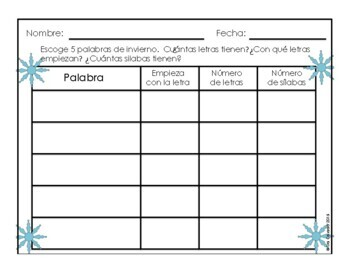 Spanish Winter Word Wall Vocabulary Exercises Writing Prompts