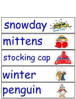 Winter Word Wall Words Pocket Chart