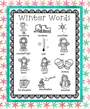 Winter Word Wall for Daily 5 Writing Portfolios / Journals / Writing Center