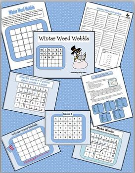 Winter Word Wobble (PowerPoint, wordsearch, printable, game, January)