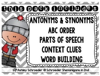 Winter Word Work - parts of speech, abc order, context clues, synonyms/antonyms