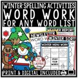 Word Work Winter Activities & Winter Spelling Centers & Vocabulary Practice