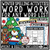 Winter Word Work Activities & Spelling Centers