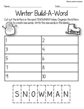 Winter Word Work {8 pages}