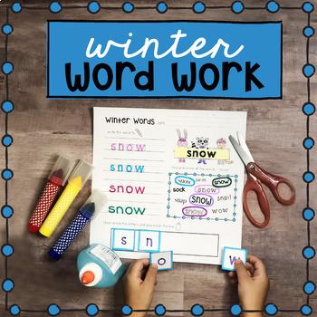Winter Word Work Activities - Winter Handwriting Practice Spelling Cut and Paste
