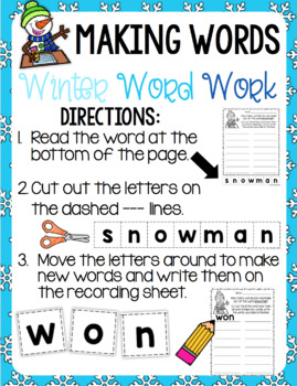 Winter Word Work - Making Words