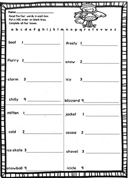 Winter Word Work Whiteout !  Print and Go