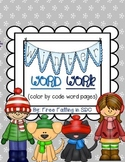 Winter Word Work (color by code word pages)
