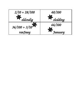 Winter Words Addition Matching Activity