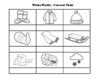 Winter Words - Cut & Paste Activity