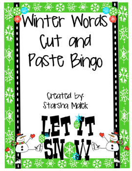 Winter Words Cut and Paste Bingo
