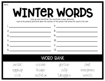 Winter Words - Dictionary Search (Especially for English Learners)