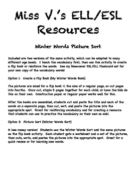Winter Words Pictures Sort - ESL/ELL!