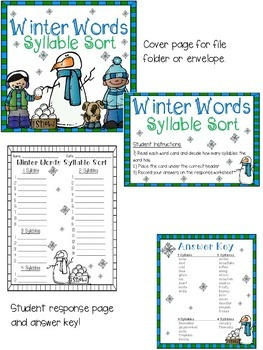 Winter Words Syllable Sort
