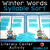 Winter Words Syllable Sort Literacy Center