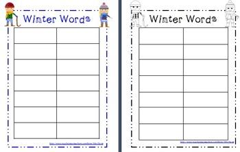 Winter Words Word Work