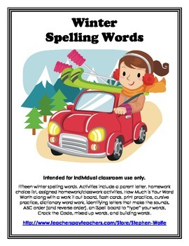 Winter Words and Activity Packet